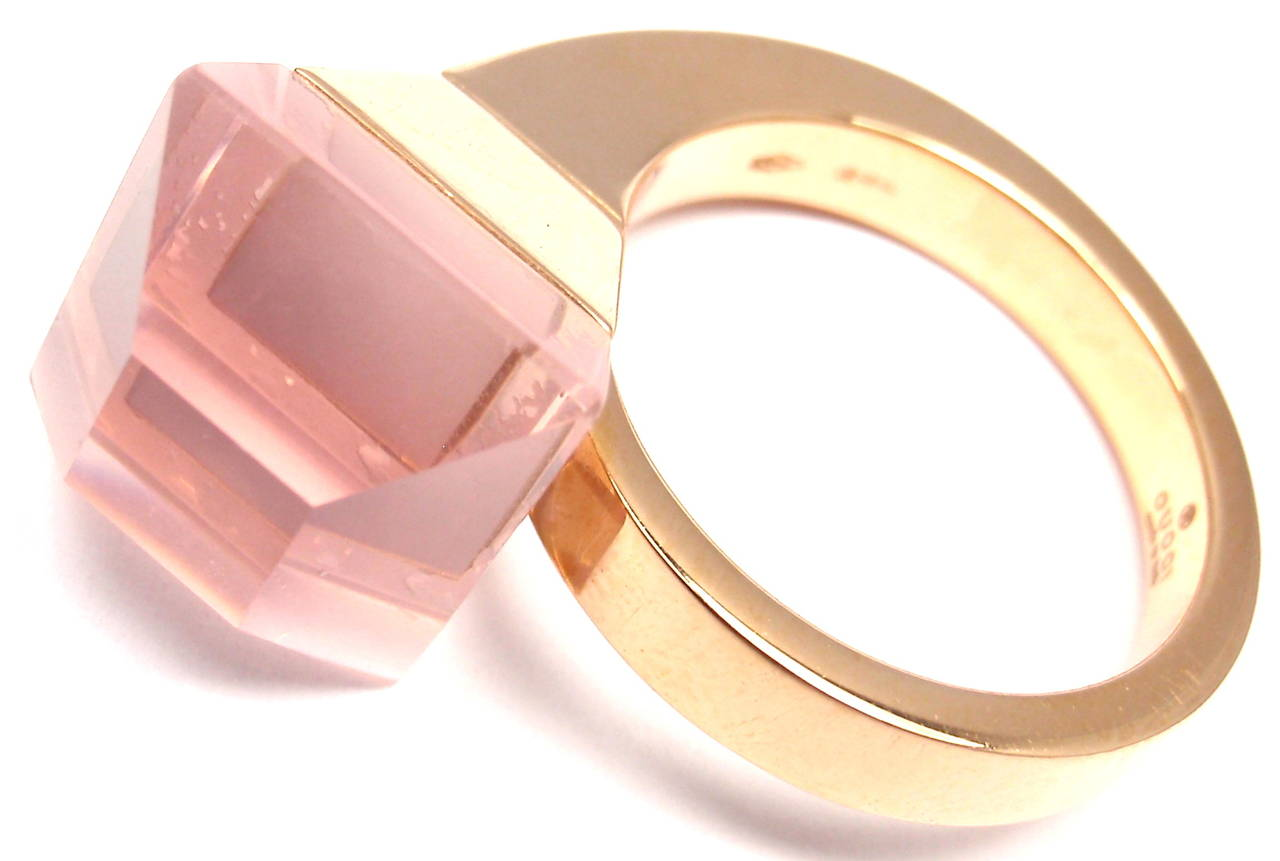 Gucci Pink Quartz French Horn Rose Gold Band Ring For Sale 4