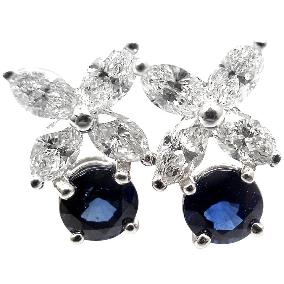 Victoria Diamond Sapphire Platinum Earrings 1