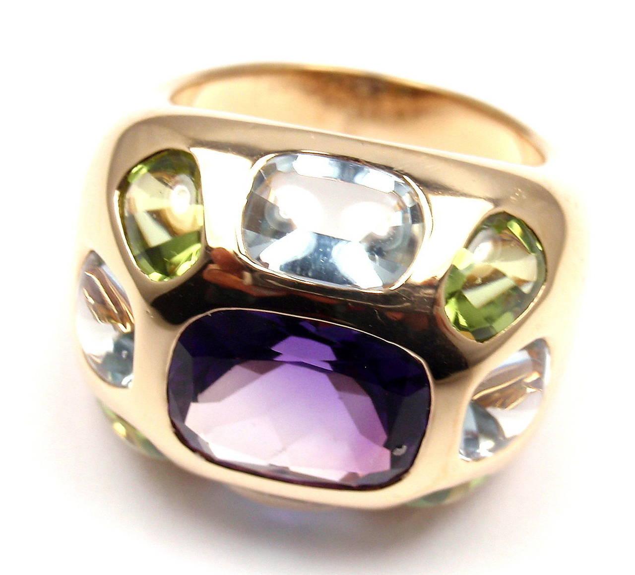 Chanel Baroque Aquamarine Peridot Amethyst Gold Ring At