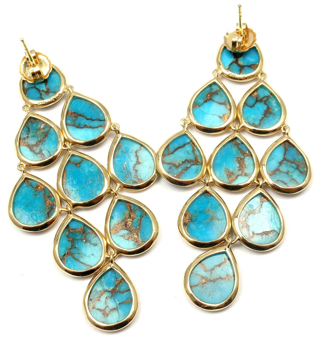 18k Yellow Gold Polished Rock Candy Cascade Turquoise Drop Yellow Gold Earrings by Ippolita. With 18 pear shaped smooth Turquoise stones.  Details:  Measurements: 22mm x 20mm Weight: 9 grams Stamped Hallmarks: Ippolita 18k *Free Shipping