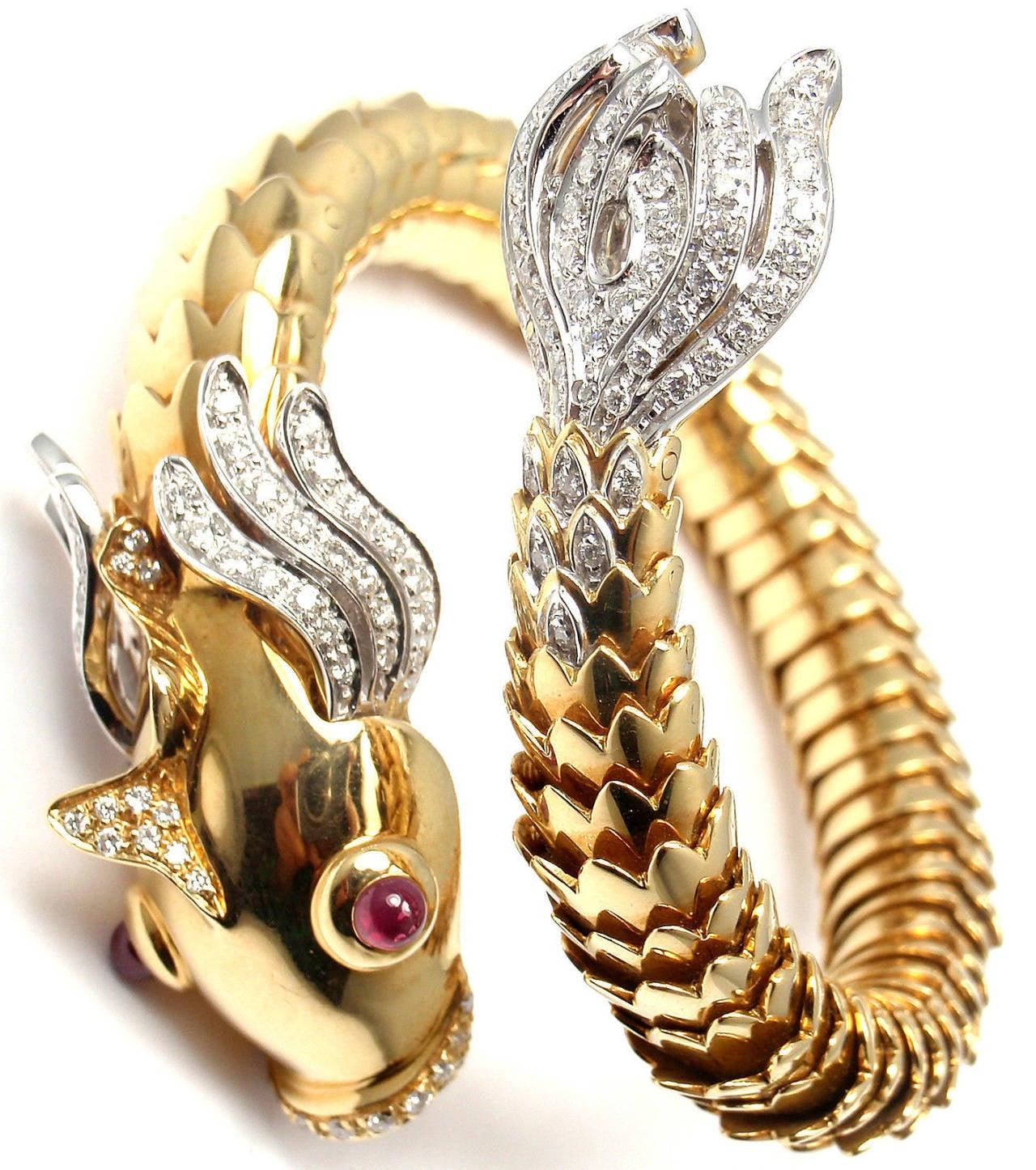 Roberto Coin 18k Gold Nemo Diamond & Ruby Bangle Bracelet Le1SpMy