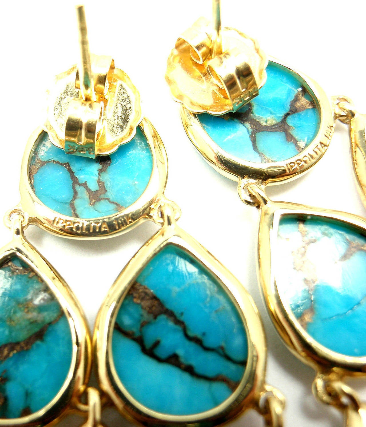 Ippolita Polished Rock Candy Cascade Turquoise Yellow Gold Drop Earrings In As New Condition For Sale In Southampton, PA