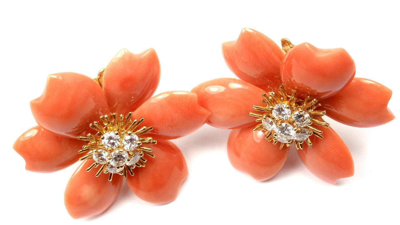 Van Cleef & Arpels Rose De Noel Coral Diamond Gold Earrings 9