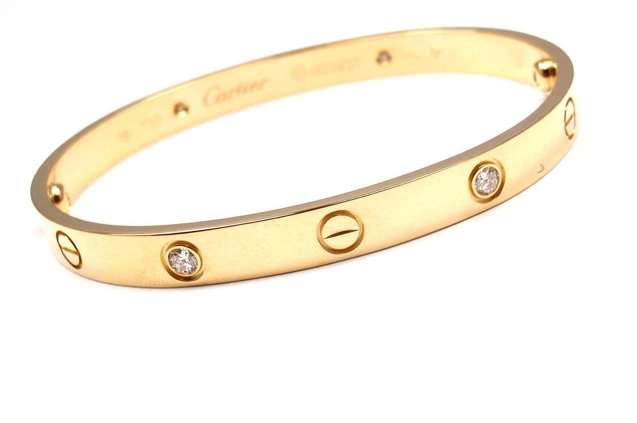Cartier Love Four Diamond Gold Bangle Bracelet at 1stdibs