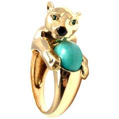 Cartier Onyx Turquoise Emerald Gold Panther Ring
