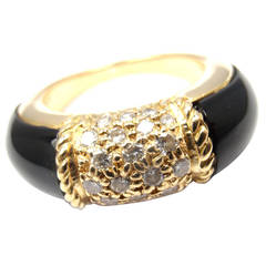 Van Cleef & Arpels Black Onyx Diamond Yellow Gold Ring
