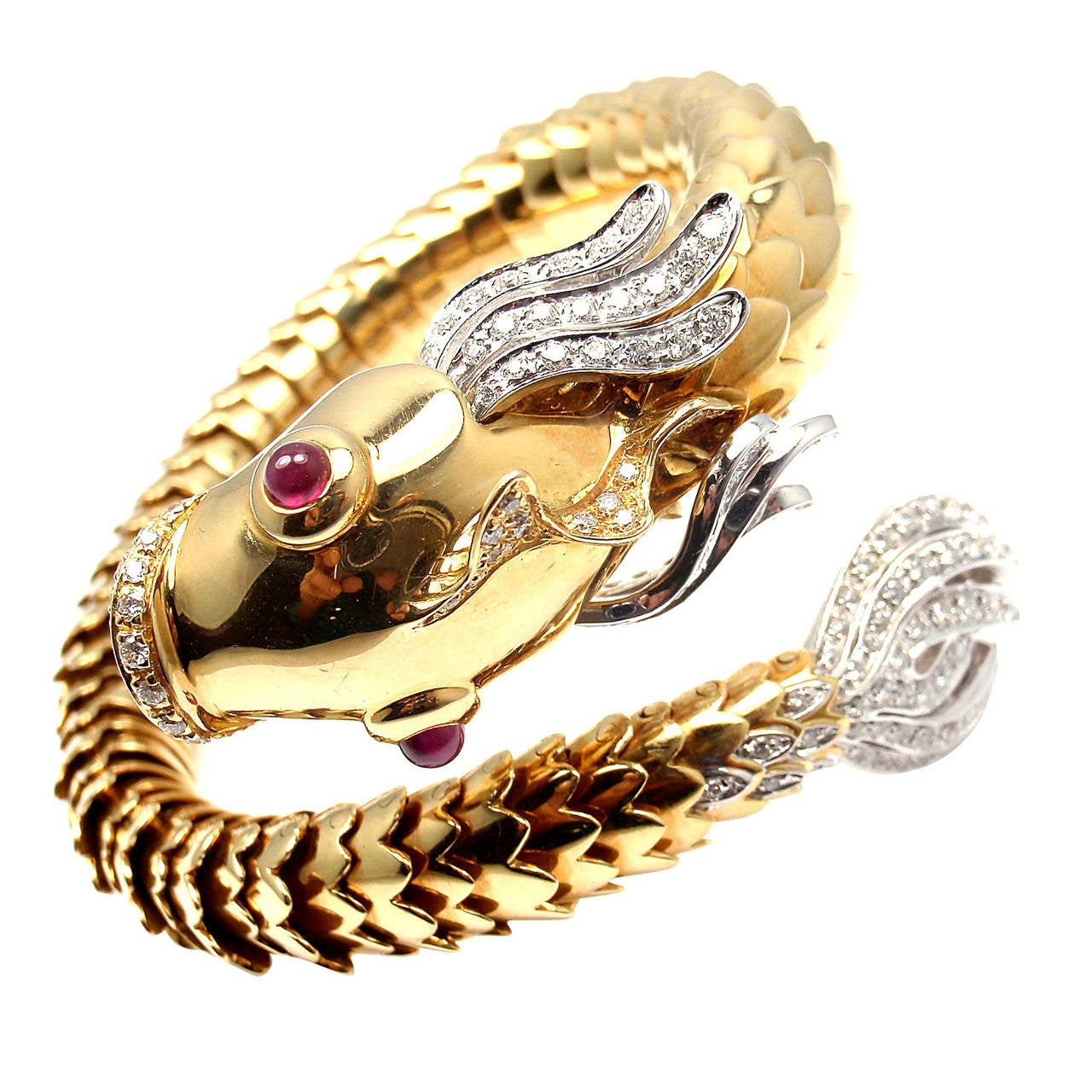 Roberto Coin 18k Gold Nemo Diamond & Ruby Bangle Bracelet ri5jL2