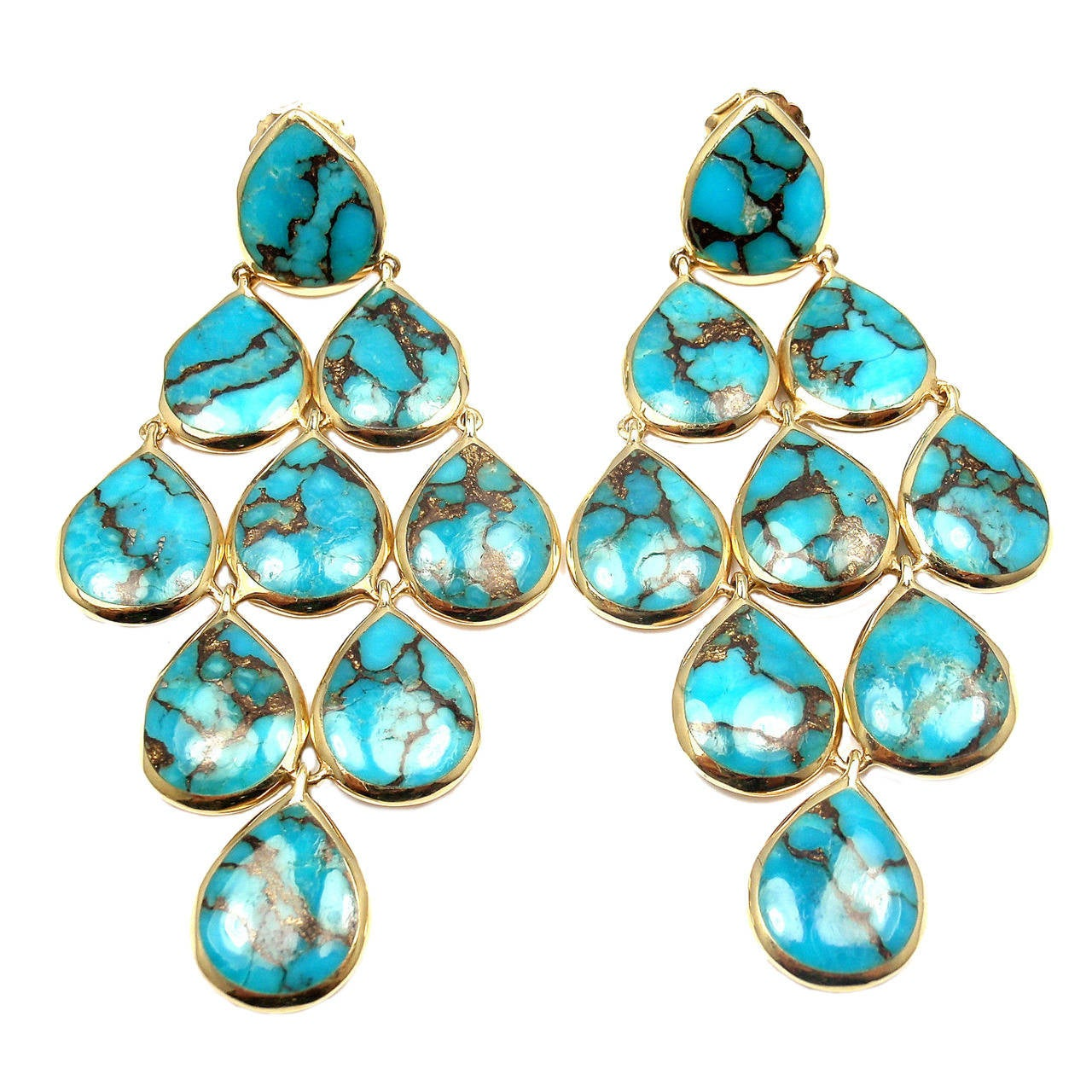 Ippolita Polished Rock Candy Cascade Turquoise Yellow Gold Drop Earrings For Sale