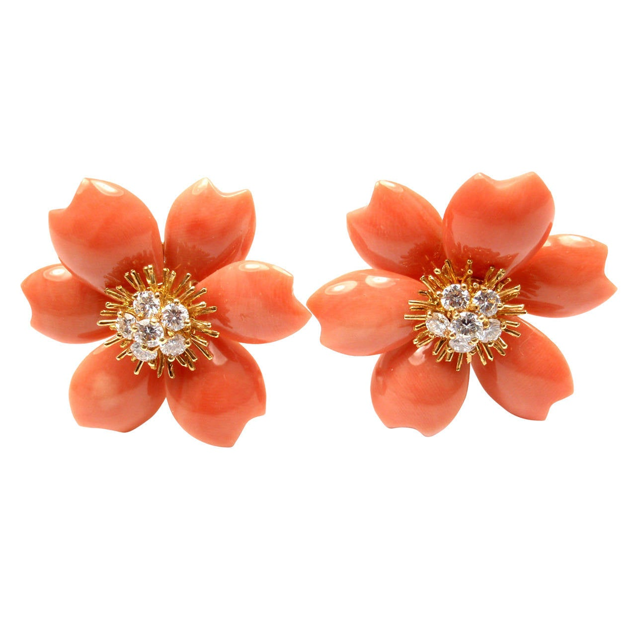 Van Cleef & Arpels Rose De Noel Coral Diamond Gold Earrings 1