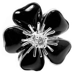 Van Cleef & Arpels Nerval Onyx Diamond Gold Flower Ring
