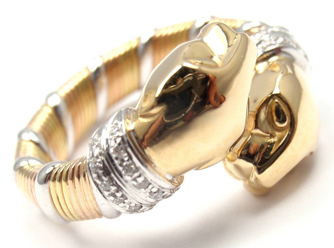 Cartier Panther Diamond Tricolor Gold Band Ring 4