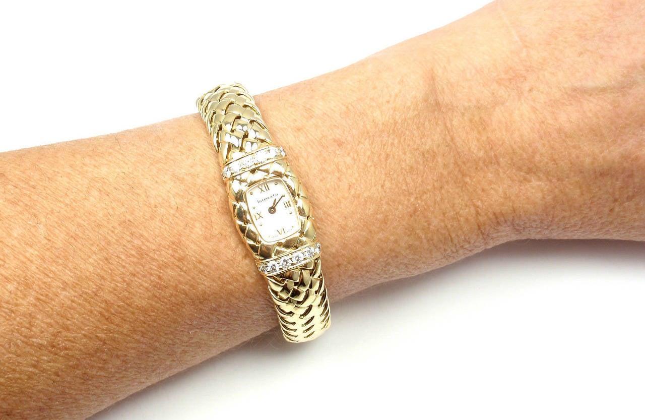 Tiffany & Co. Lady's Yellow Gold Diamond Basket Weave Quartz Wristwatch 9