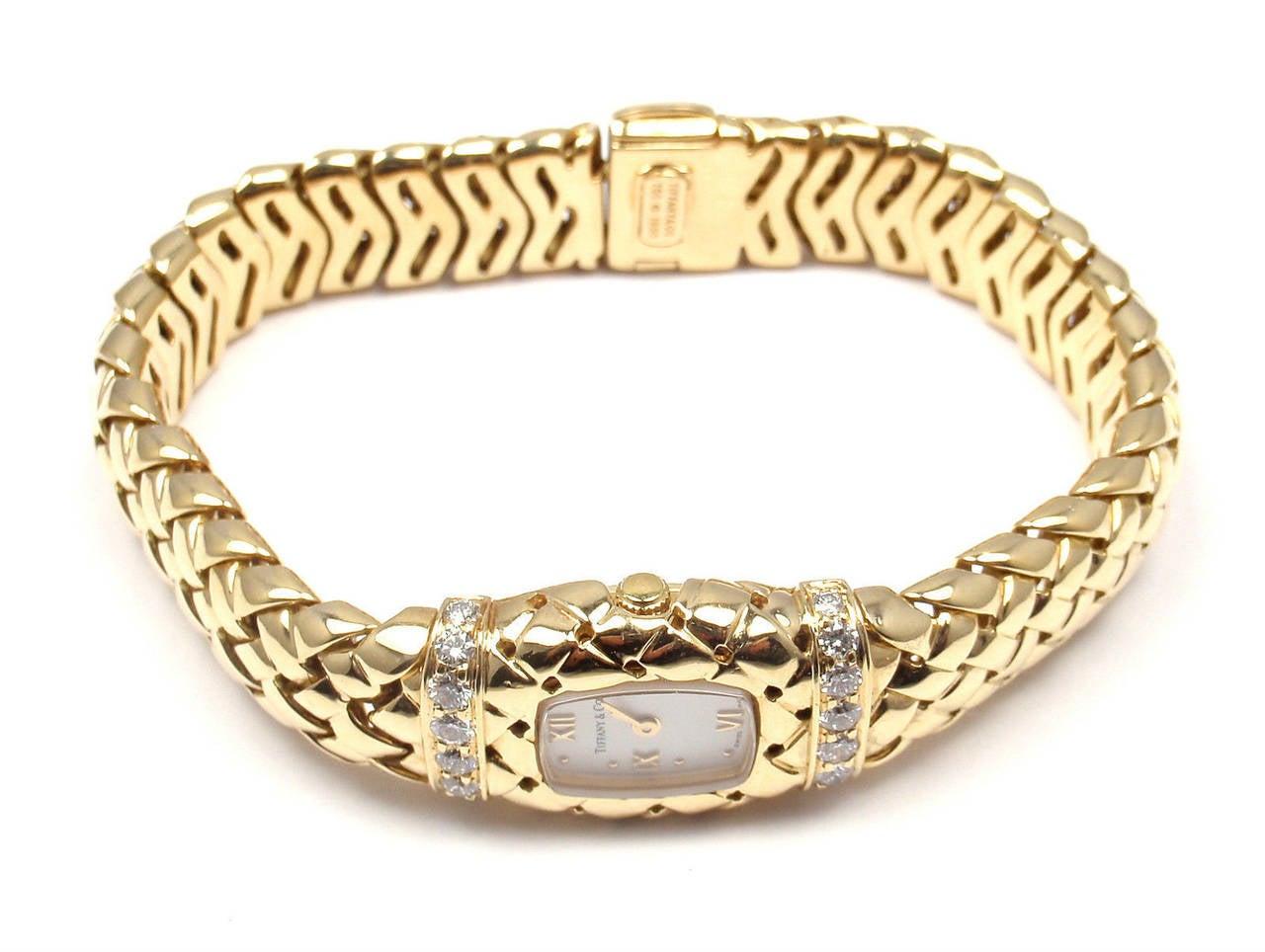 Tiffany & Co. Lady's Yellow Gold Diamond Basket Weave Quartz Wristwatch 2