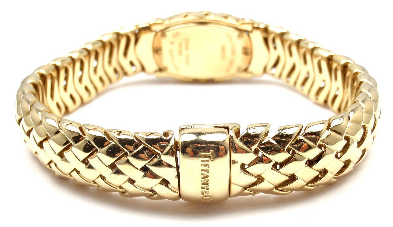 Tiffany & Co. Lady's Yellow Gold Diamond Basket Weave Quartz Wristwatch 8