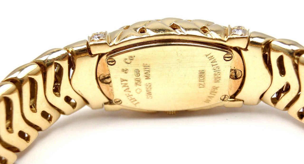 Tiffany & Co. Lady's Yellow Gold Diamond Basket Weave Quartz Wristwatch 6