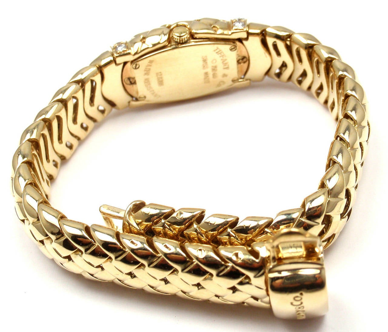 Tiffany & Co. Lady's Yellow Gold Diamond Basket Weave Quartz Wristwatch 3