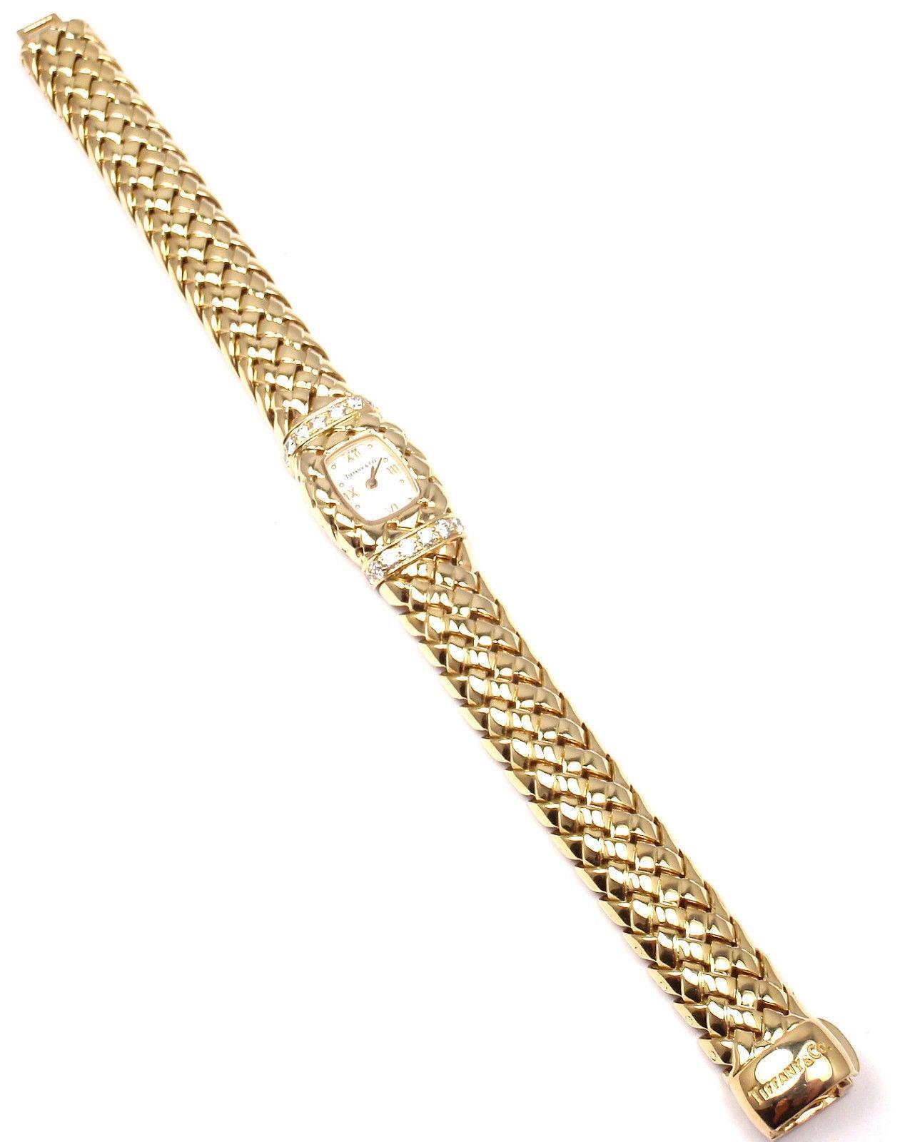 Tiffany & Co. Lady's Yellow Gold Diamond Basket Weave Quartz Wristwatch 4