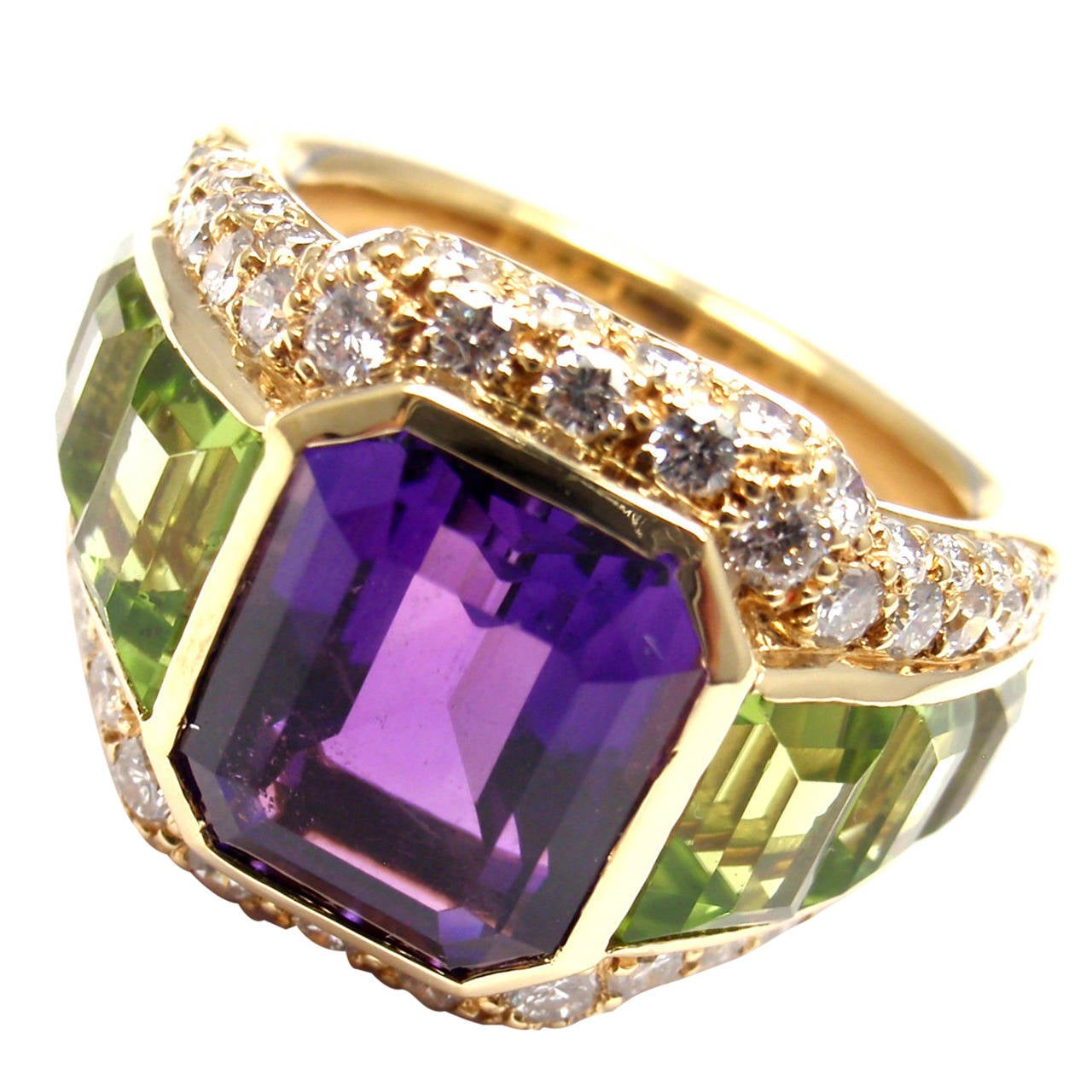 bulgari amethyst peridot diamond gold ring 1