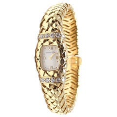 Tiffany & Co. Lady's Yellow Gold Diamond Basket Weave Quartz Wristwatch