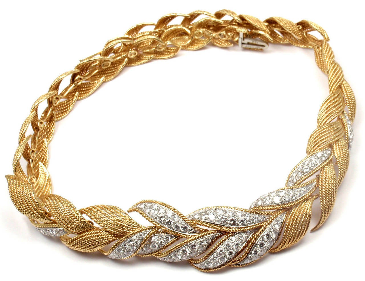 David Webb Diamond Yellow Gold And Platinum Necklace For Sale 1
