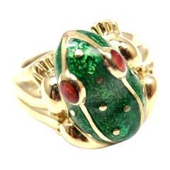 David Webb Ruby Green Enamel Yellow Gold Frog Ring