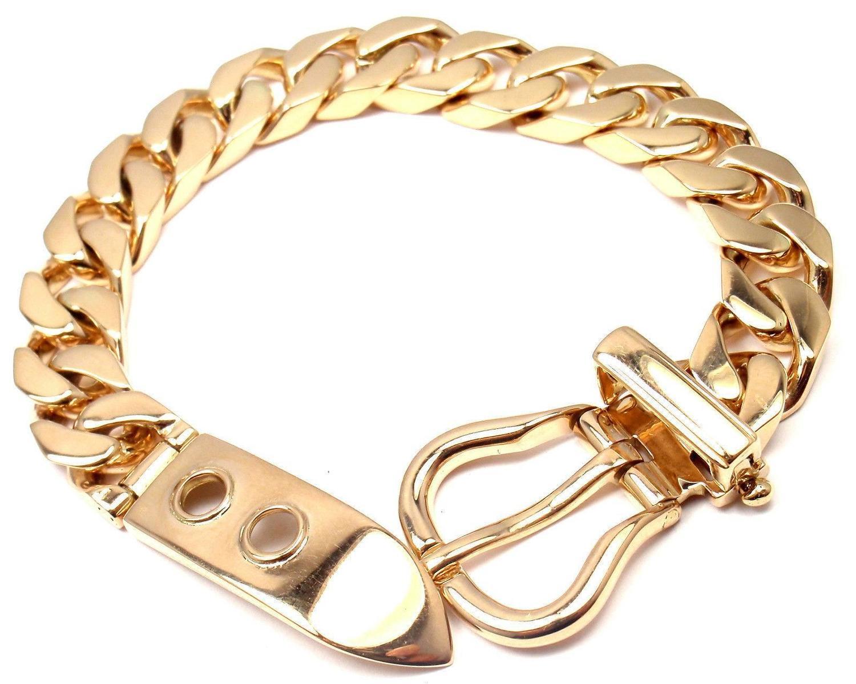 birkin bag hermes cost - Hermes Gold Curb Link Chain Large Buckle Bracelet For Sale at 1stdibs