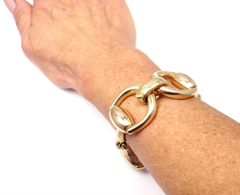 Gucci Gold Horsebit Large Link Bracelet For Sale At 1stdibs