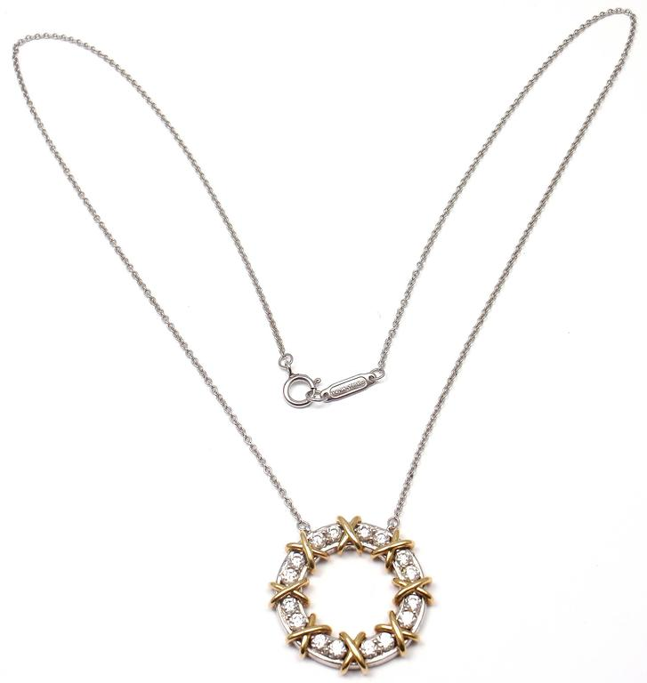 603413c39 Tiffany & Co. Schlumberger Sixteen Stone Diamond Gold Platinum Necklace In  New Condition For Sale