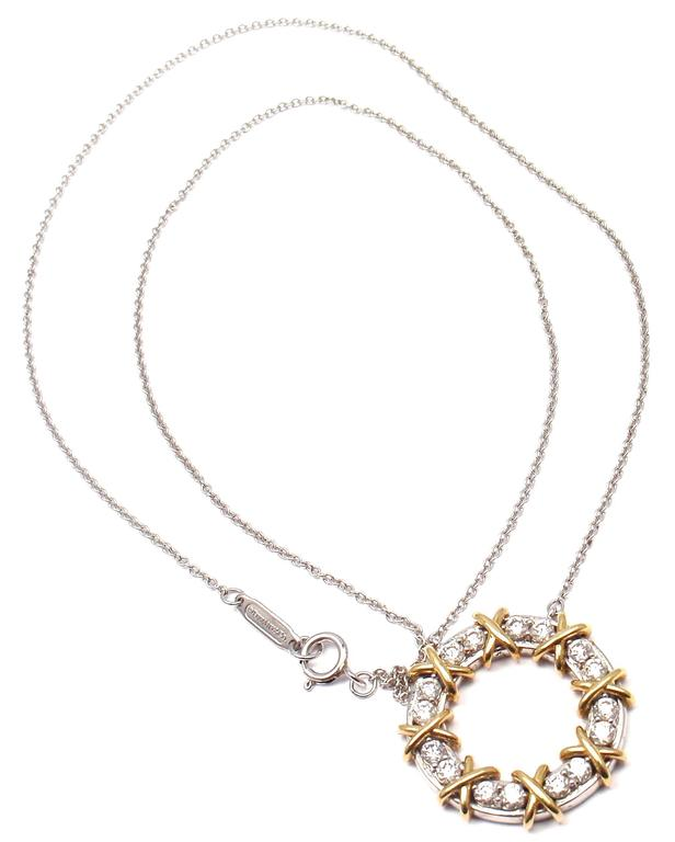 53864e9f7 Platinum & 18k Yellow Gold Sixteen Stone Diamond Necklace by Jean  Schlumberger for Tiffany & Co