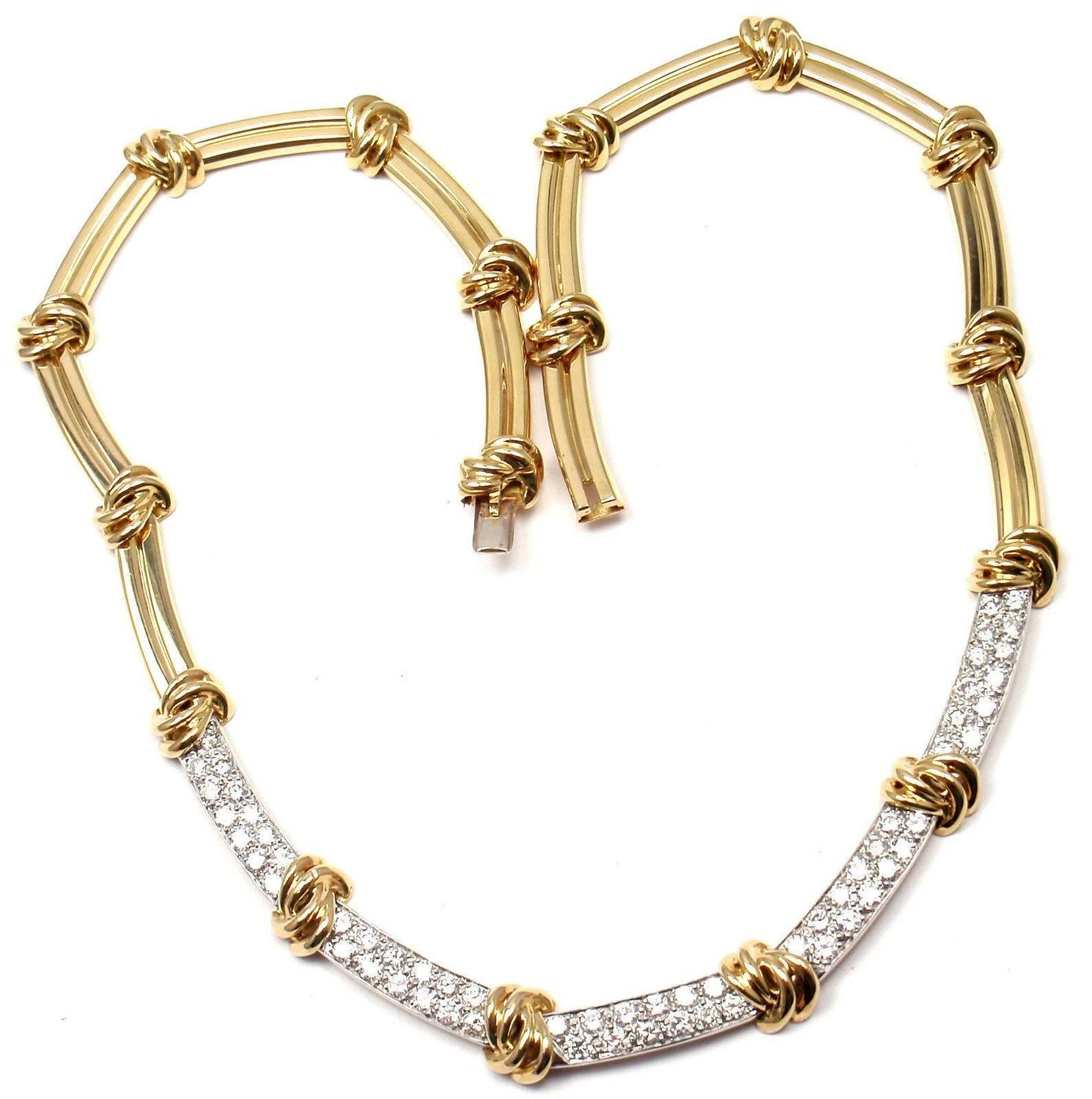 Tiffany and co diamond gold necklace for sale at 1stdibs for New mom jewelry tiffany