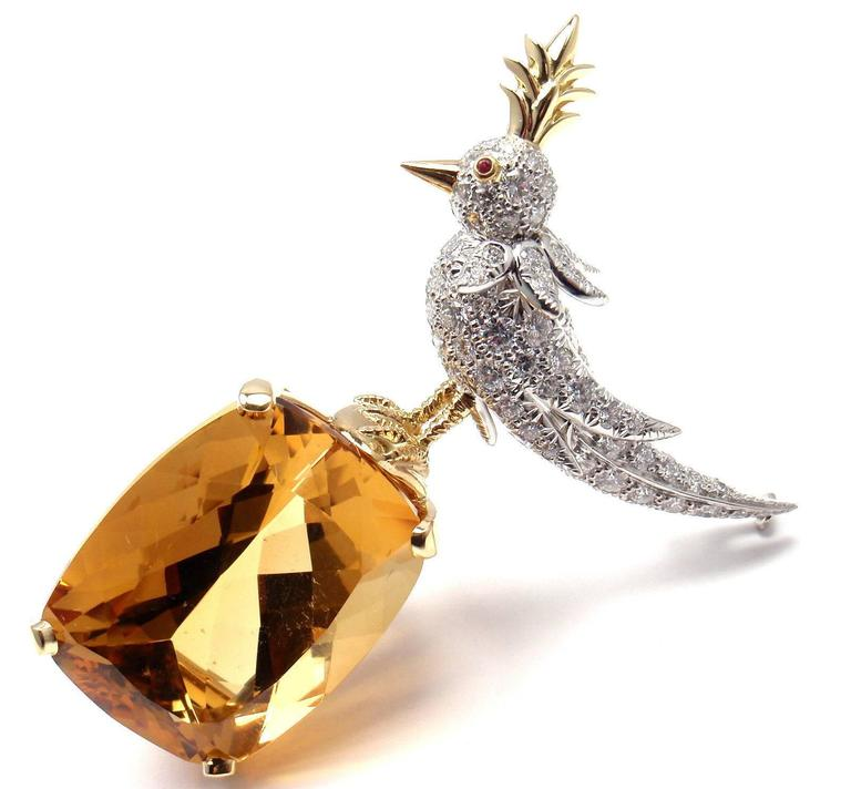 f5f677275 Tiffany & Co. Schlumberger Citrine Diamond Gold Bird on a Rock Brooch In  New Condition