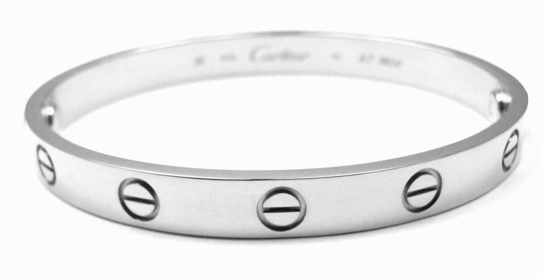 "18k White Gold ""Love"" Bangle Bracelet by Cartier. Size 16. 