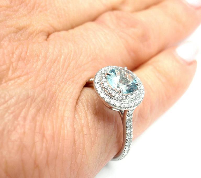 a67a6dd42 Tiffany & Co. Soleste 1.25 Carat Aquamarine Diamond Platinum Ring For Sale 2