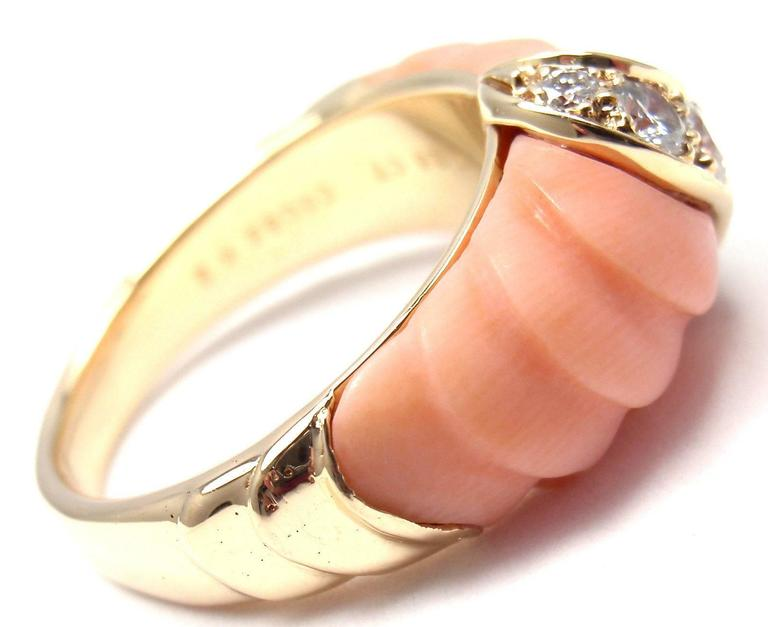 Van Cleef & Arpels Angel Skin Coral Diamond Gold Band Ring In New Condition For Sale In Southampton, PA
