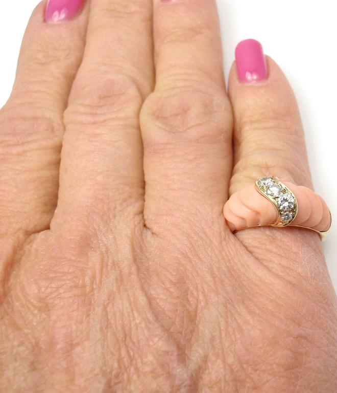 Van Cleef & Arpels Angel Skin Coral Diamond Gold Band Ring For Sale 5