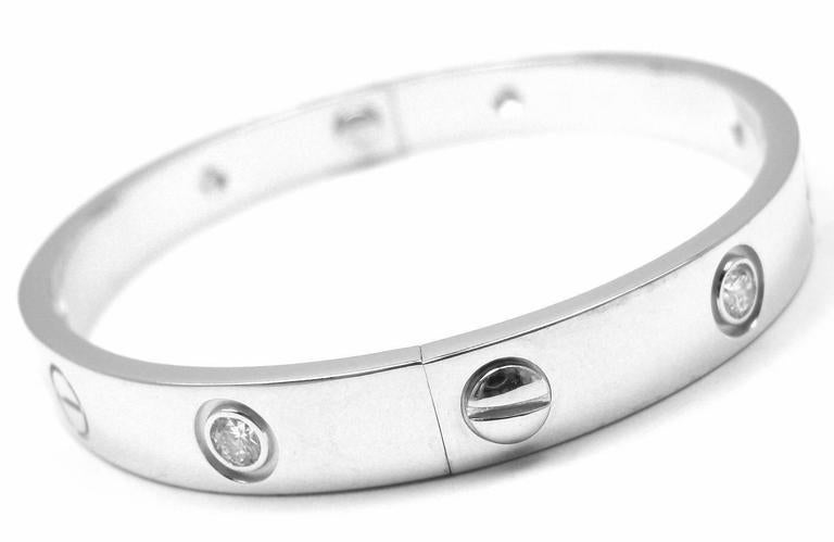18k White Gold Cartier LOVE Bangle Bracelet, size 16. With 6 brilliant round cut diamonds, VS1 clarity, E-F color total weight approx. .30ct This bracelet comes with original Cartier box and a screwdriver.  Details: Size: 16cm Weight: 30.8