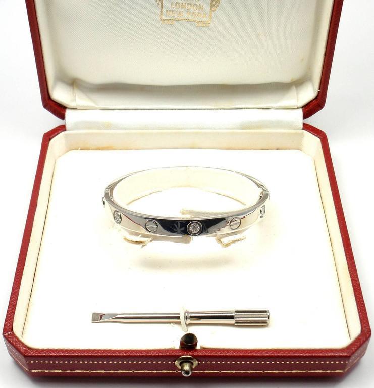 Women's or Men's Cartier 6 Diamond Gold LOVE Bangle Bracelet For Sale