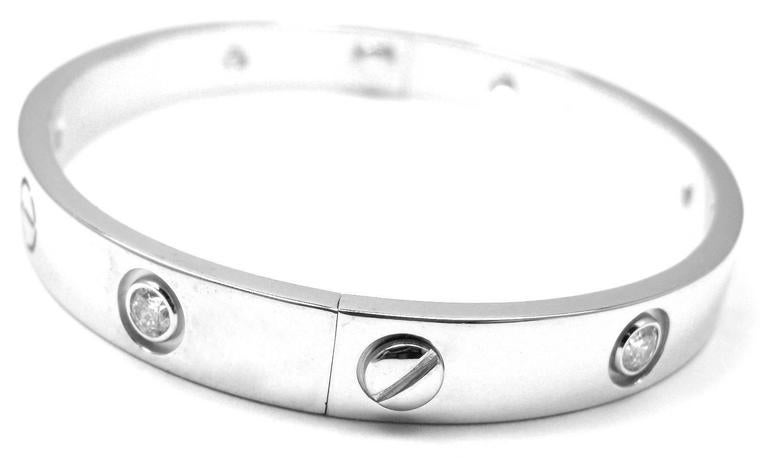 Cartier 6 Diamond Gold LOVE Bangle Bracelet For Sale 3