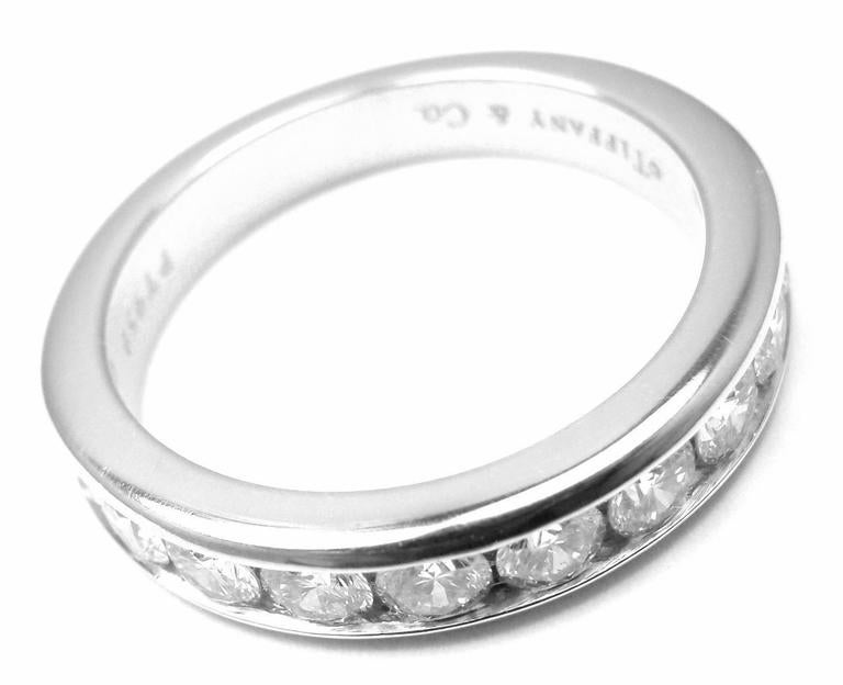 Tiffany and Co Diamond Platinum Half Circle Band Ring For Sale at