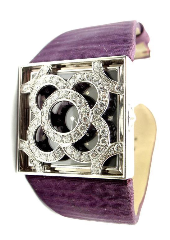 Audemars Piguet Lady's White Gold Diamond Satin Bracelet Quartz Wristwatch