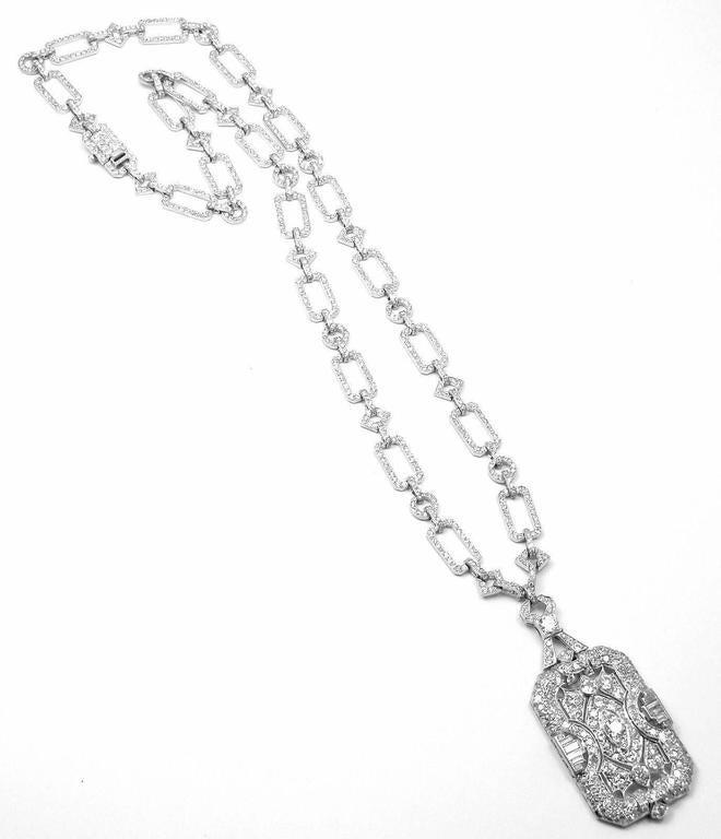 French Art Deco Diamond Platinum Long Necklace For Sale 1