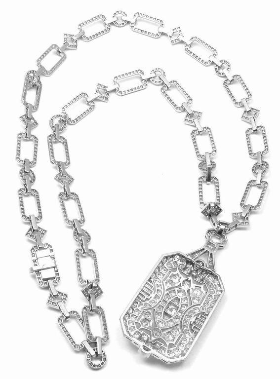 French Art Deco Diamond Platinum Long Necklace For Sale 3