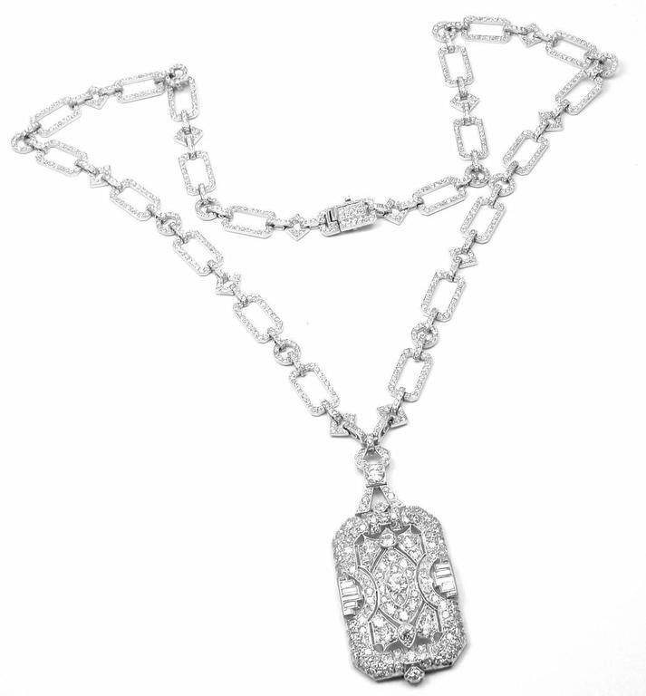 French Art Deco Diamond Platinum Long Necklace In New Condition For Sale In Southampton, PA