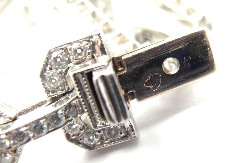 Women's or Men's French Art Deco Diamond Platinum Long Necklace For Sale