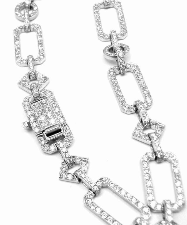 French Art Deco Diamond Platinum Long Necklace For Sale 2