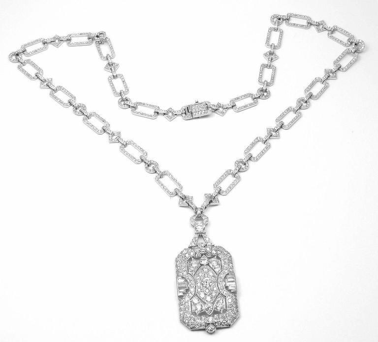 French Art Deco Diamond Platinum Long Necklace For Sale 6