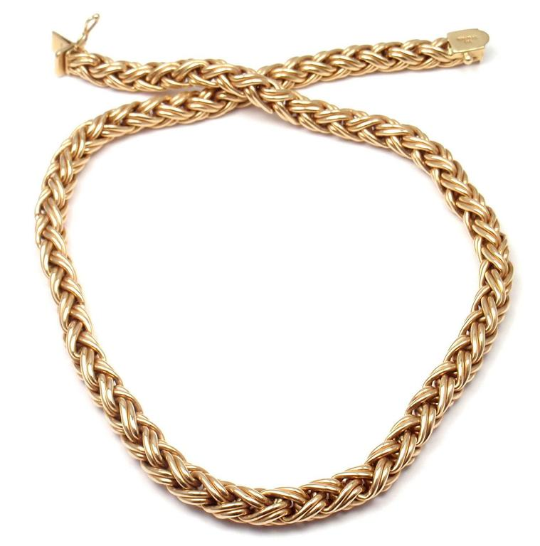 Basket Weaving Jewelry : Tiffany and co basket weave gold necklace at stdibs