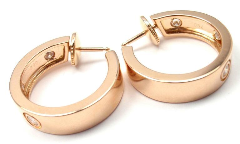 Women's or Men's Cartier Love Diamond Gold 150th Anniversary Limited Edition Hoop Earrings