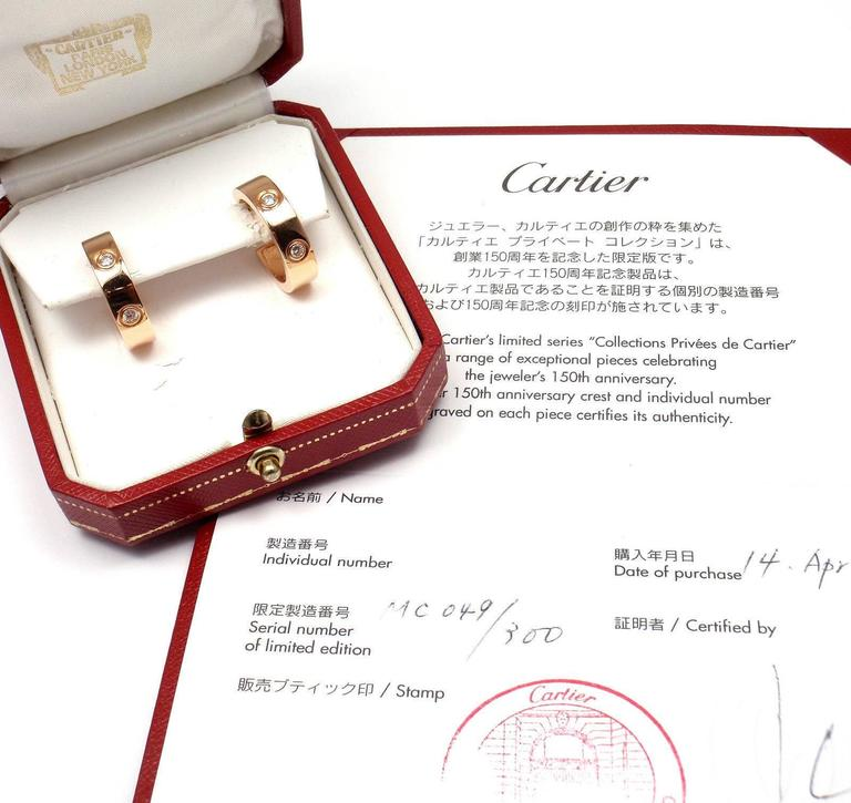 Cartier Love Diamond Gold 150th Anniversary Limited Edition Hoop Earrings 1