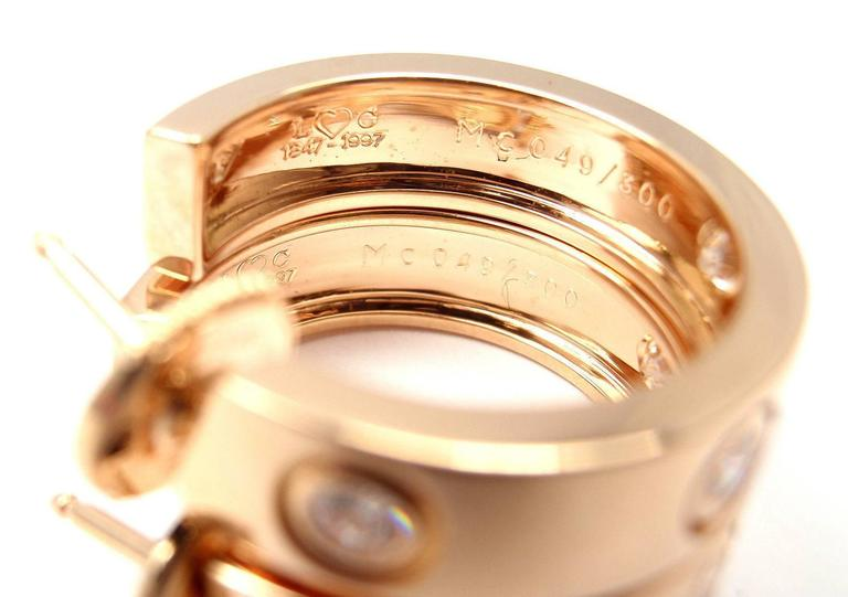 Cartier Love Diamond Gold 150th Anniversary Limited Edition Hoop Earrings 2